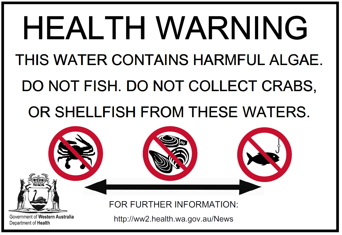 Shellfish and fishing warning for the Swan River: Pelican Point to West Swan Road Bridge, Guildford